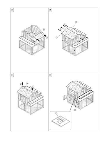 dobar 23033FSC Großer dekorativer Hühnerstall oder Kleintierstall XL mit Freigehege, Pflanzkasten und Legebox, 126 x 128 x 143 cm, weiß-braun-schwarz - 20