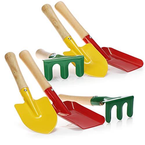 com-four® 6-teiliges Gartenwerkzeug Set für Kinder - kleine Harke, Schaufel und Spaten aus robusten Metall und Holz, perfekt für Gartenarbeit, Strand und Sandkasten [Auswahl variiert]