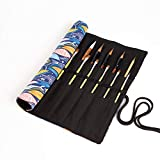 LELEBEAR Creative Canvas Pencil Wrap 20 Slots Roll Up Pencil Case Colored Paint Brush Holder Organizer Large Capacity Storage Pouch Portable for Artist Student,NO Pencils (Blue)