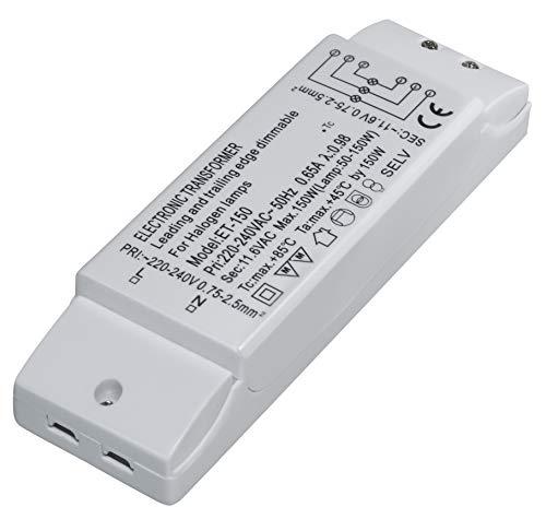 Transmedia ET-150 - Transformador eléctrico (halógeno, 230 V a 12 V, 50-150 W con protección de sobrecarga y control de temperatura)