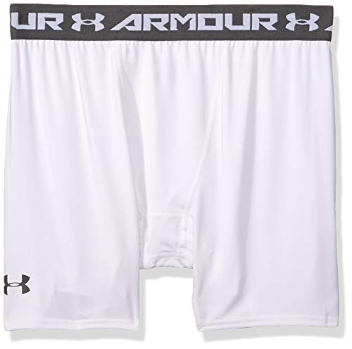 Under Armour Men's HeatGear Armour Compression Shorts – Mid, White (100)/Graphite, X-Large