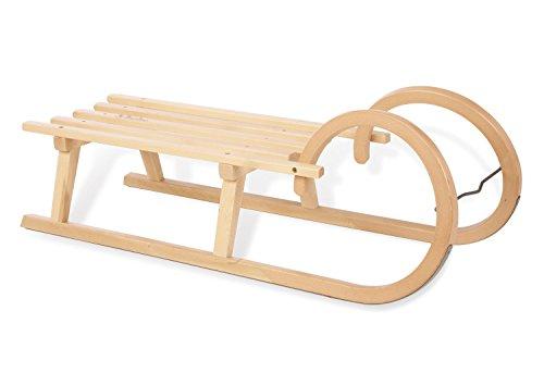 Pinolino Hörnerschlitten aus Holz, mit Pinolino Branding, Belastbarkeit 90 kg, für Kinder ab 3 Jahren, klar lackiert