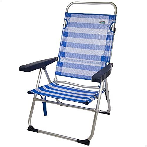 Aktive 53956 - Silla plegable multiposición, Silla de playa, 5 posiciones, con asa de transporte, 63x57x99 cm, altura del asiento 32 cm, color azul, peso máx 100 kg, Aktive Beach