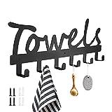 Towel Rack, Towel Holder Wall Mount with 6 Hooks, Towel Rack for Bathroom, Bedroom, Kitchen, Pool, Beach Towels, Bathrobe, Clothing, Rustproof and Waterproof Door Hooks (Black)