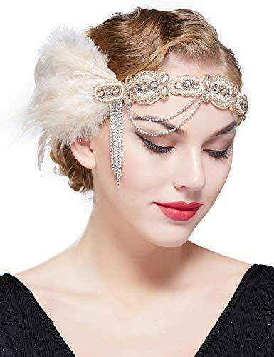 ArtiDeco 1920s Flapper Feder Stirnband Damen Gatsby Accessoires Retro Feder Stirnband 20er Kopfschmuck Flapper Gatsby Zubehör (Nude Pink)