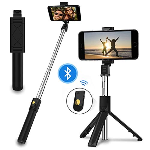 EasyULT Bastone Selfie Treppiede, 3 in 1 Estensibile Portatile Selfie Stick, Rotazione con Telecomando Wireless Rimovibile Bluetooth per iPhone/Huawei e Altri Android e iOS 4.7-6 Pollici-Nero