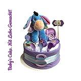 Windeltorte I-Aah Neutral (Disney)/Diaper Cake Babys-Cake Baby Geschenk/Geschenk zur Geburt, Taufe, Babyparty, für Mädchen und Jungen
