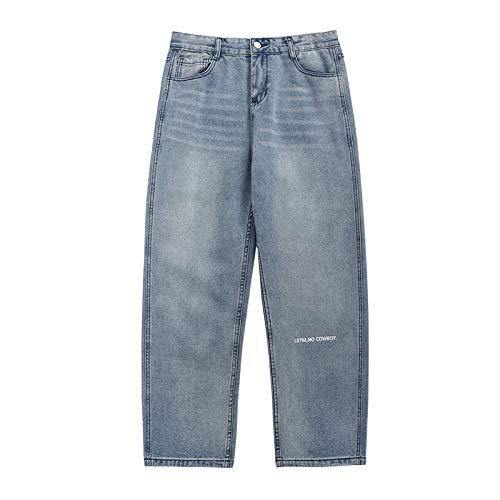 Pantalones Anchos de Playa Holgados y Ligeros Informales para Hombre, Pantalones Vaqueros de Ajuste Regular Decorados con Estampado de Letras Simples de Moda de Verano XXL