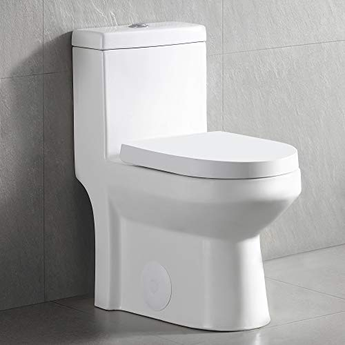 DeerValley DV-1F52812 White Mini Small Dual Flush One-Piece Toilet With Soft Close Toilet Seat Tiny Compact Bathroom Water Closet