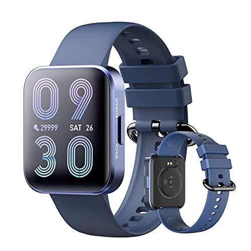 Smartwatch 1,69' Reloj Inteligente Impermeable IP68 Para Mujer Hombre, Pulsera De Actividad Con Pulsómetro Monitor De Sueño Podómetro Calorías, Monitores Actividad Deportivo Para Android Ios,Azul