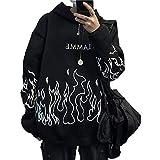 Lunoakvo Männer Casual Letter Print Flame Grafik Übergroße Langarm Sweatshirt Hoodie Pullover Tops