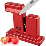 Taylor's Eye Witness Chantry - Affilacoltelli manuale rosso per coltelli da cucina, affila lame semplici o seghettate, non richiede batterie o rete elettrica. Artigianato nel Regno Unito.