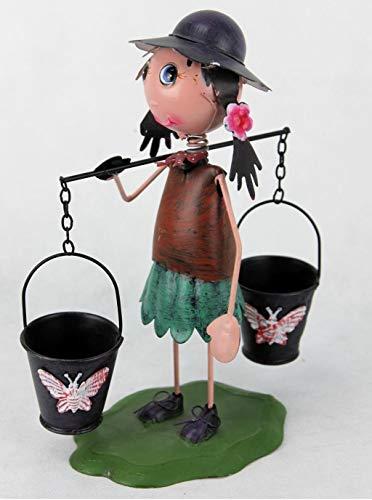 Decohouse - MACETERO Original MUÑECO niña Chapa Cubos - Soporte Flores Plantas Divertido Jardin Metal - 18x9x23cm - Regalo Original y Barato