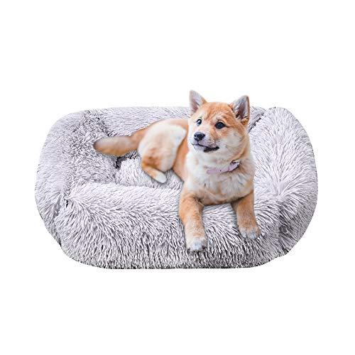 Wuudi Panier pour chien ou chat rectangulaire en peluche douillette Taille M et L