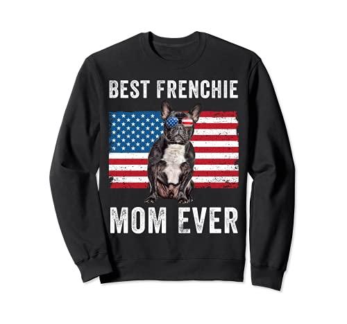 Frenchie Mom American Flag Black French Bulldog Dog Lover Sweatshirt
