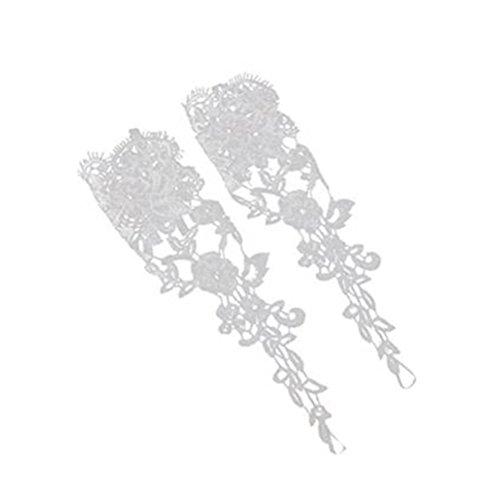 NUOLUX Paar Handschuhe Fingerlose Braut Spitze für Hochzeitsfeier (weiß)