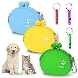 3 bolsas portables para comida de perro + 3 silbatos de entrenamiento de silicona con ganchos, para comida seca y húmeda.