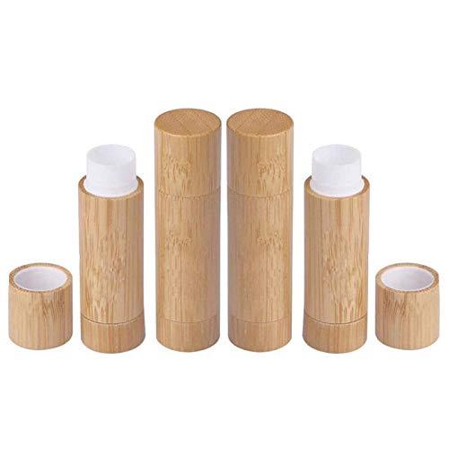 Fablcrew 4Pcs Tubes de Rouge à Lèvres Vides bois, Tube Baume à Lèvres Vide bois,Stick à Lèvres Vide Rechargeables Cosmétiqu