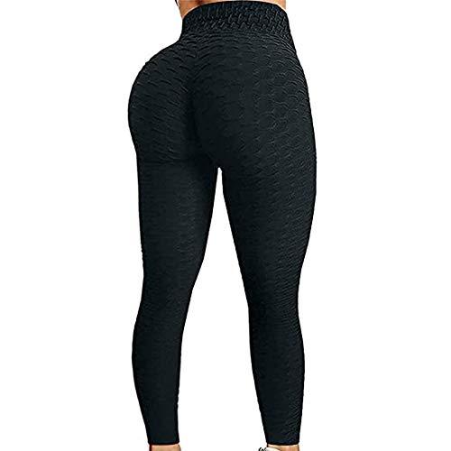 N /C Women's High Waist Tummy Control Yoga Pants Butt Lift Textured Workout Tights Sport Running Leggings (Black, M)