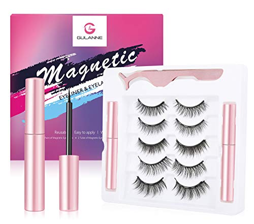 Magnetic Eyelashes and 2PCS Stronger Magnetic Eyeliner Kit, 5 Pairs of Upgraded Custom Life &Party Styles 5 Magnets Natural Look Magnetic Lashes,Eyelashes with Updated Eyeliner-Easy to Move