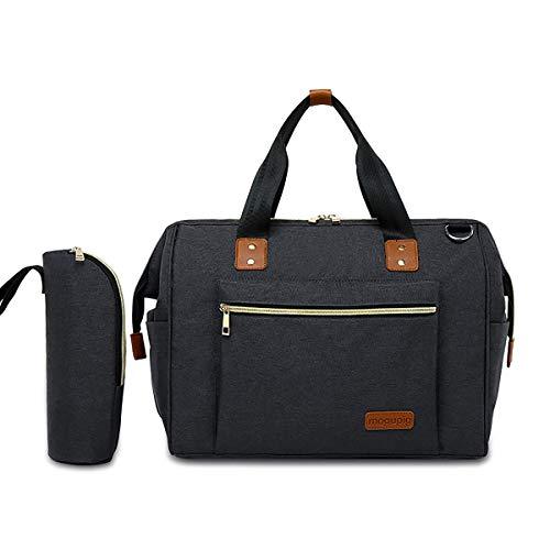 SONARIN Baby Wickeltasche für Windel mit Isolierte Tasche,Umhängetasche,Wasserdicht,Große Kapazität,Stilvoll und Langlebig(Schwarz)