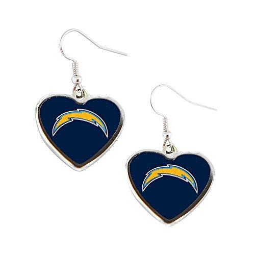 Sports Team SAN Diego Chargers Non-Swirl Heart Shape Dangle Earring Set
