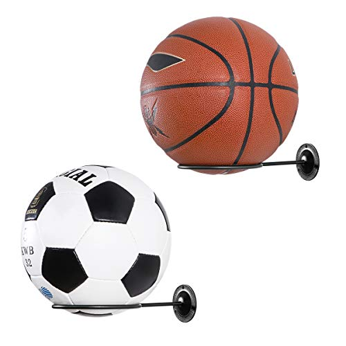 Clispeed Wall-Mounted Ball Holders Display Racks for Basketball Soccer Football Volleyball Exercise Ball (Black,2PCS)