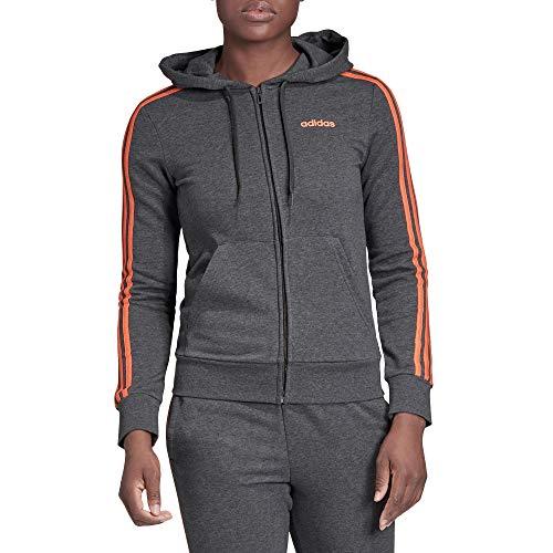 adidas Essentials 3s Full Zip Hoodie Track Tops, Mujer, Dark Grey Heather/Semi Coral, M 44-46