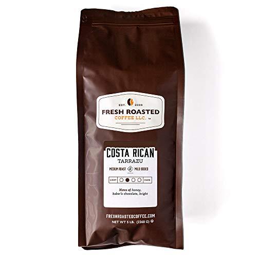 Fresh Roasted Coffee LLC, Costa Rica Tarrazu Coffee, Medium Roast, Whole Bean, 5 Pound Bag
