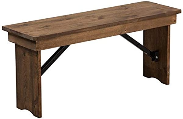 BOWERY HILL 40 X12 Folding Farm Bench In Antique Rustic