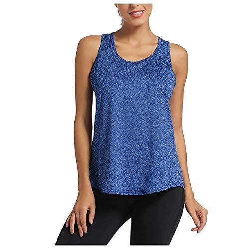 Chaleco de yoga para mujer, sexy, fijo, transpirable, sin mangas, con hombros descubiertos, camiseta deportiva azul M