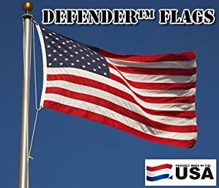 2x3 FT Defender US American Flag Commercial SolarMax Nylon (Embroidered Stars & Sewn Stripes) Windstrong® Stitching Reinforced Corners Satisfaction Guaranteed Made in the USA