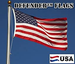 8x12 FT Defender US American Flag Commercial Grade 2 Ply Weave Polyester (Embroidered Stars & Sewn Stripes) Windstrong® St...