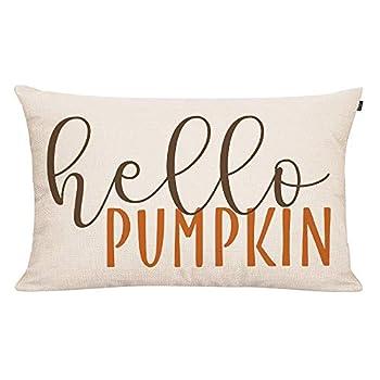 GTEXT 20x12 inch Fall Throw Pillow Cover Hello Pumpkin Cushion Cover Autumn Decor Fall Pumpkins Pillow Cover Outdoor Pillow Linen Square Pillow Cover for Cushion,Sofa Fall Pillow Cover