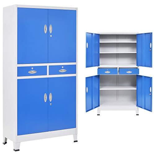 vidaXL Armario Archivador Oficina Metal 4 Puertas Cajones Estantes Gris Azul