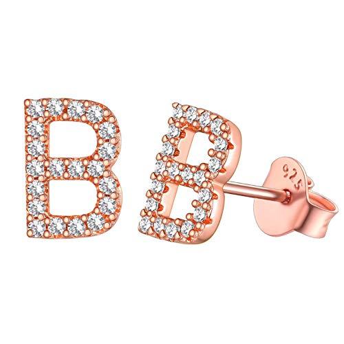 Pendientes de tuerca brillantes con letra B, plata de ley, oro rosa