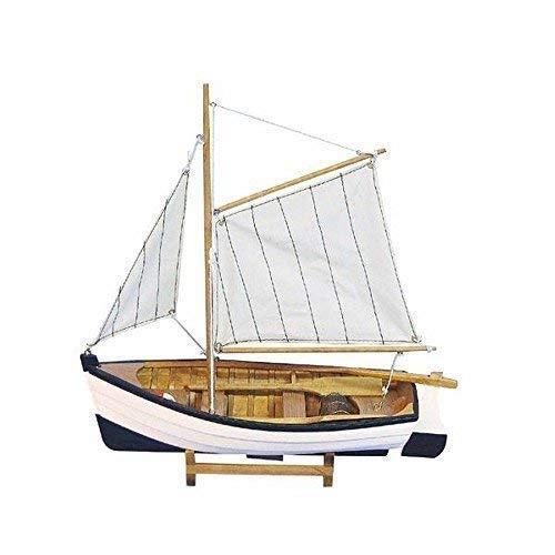 linoows Fischerboot mit Gaffelsegel, Segel Fischer, Ruderboot, Modellboot 32 cm.