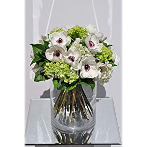 Silk Blooms Ltd Artificial White Anemone and Snowball Floral Arrangement w/Green Leaves and Glass Vase