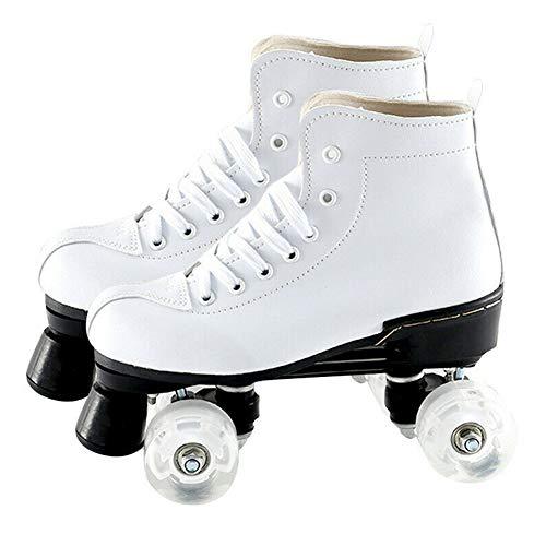 Dinah Damen Herren Skate Gear Soft Boot Rollschuhe Retro High Top Design Indoor Outdoor mit Licht Gr. 70 DE, weiß