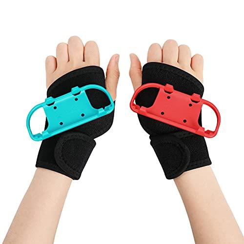 Cinturini da polso per Just Dance 2021/2020/2019 Joy-Con Controller Game e Zumba Burn It Up, inRobert 2Pcs Cinturino da polso appiccicoso regolabile da braccio, adatto per adulti (rosso e blu)