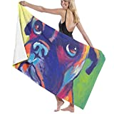 Bath Towels, Animal Boxer Dog Hand Towels 100% Polyester Beach Towel Ultra Absorbent Salon Towel Quick Drying Bath Sheets for Home Hotel Spa