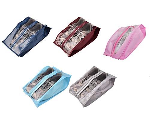 ZARRS Bolsas de Zapatos de Viaje,5 Pack Portátil Impermeable Zapatos Almacenamiento y...