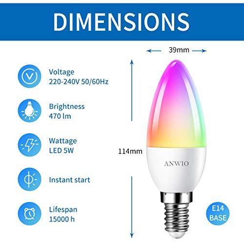 ANWIO AN-C37-2 WIFI DIM+CCT+RGB 5W E14 X-Y