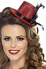 Complete your burlesque fancy dress costume with the Mini Top Hat Included is ribbon and feather detail A fun accompaniment to your dress-up costume Perfect for ladies Great for your next party!