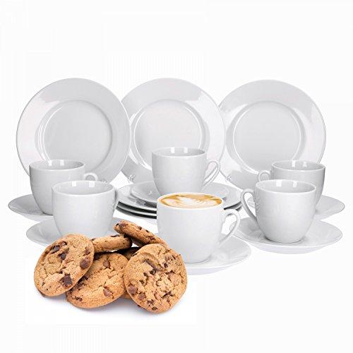 Van Well Trend 36-TLG. Kaffeeservice weiß für 12 Personen, Kaffeetassen + Untertassen + Kuchenteller