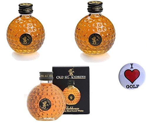 CEBEGO 4-er-Set Golf-Whisky St. Andrews in Mini Golfballflasche,3 x 0,05l, 40% vol Alk & Golf Kühlschrankmagnet I LOVE GOLF,Scotch Whisky Golfgeschenk Miniatur von Sportiques