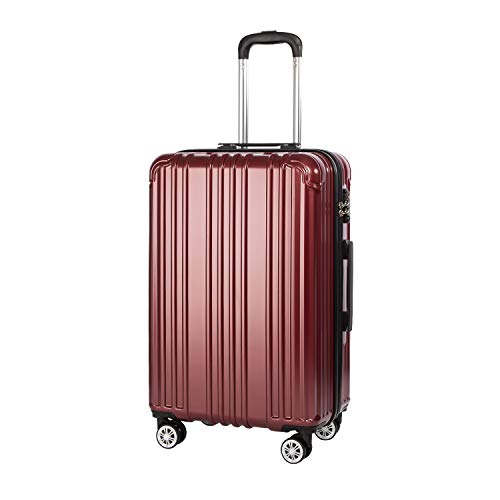COOLIFE Suitcase Lightweight 66cm Hard Shell 4 Wheel Travel Hand Cabin Luggage Suitcase with TSA Lock(Wine Red, M(66cm 60L))