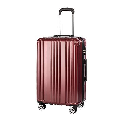 COOLIFE Hartschalen-Koffer Rollkoffer Reisekoffer Vergrößerbares Gepäck (Nur Großer Koffer Erweiterbar) PC+ABS Material mit TSA-Schloss und 4 Rollen (Crimson Red, Mittelgroßer Koffer)