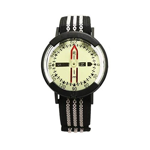 ZJJ Brújula Reloj de Bolsillo con brújula Luminosa 1pc Buceo Portable Impermeable al Aire Libre de múltiples Funciones de la Herramienta de medición Regla GPS y navegacion (Color : Black)