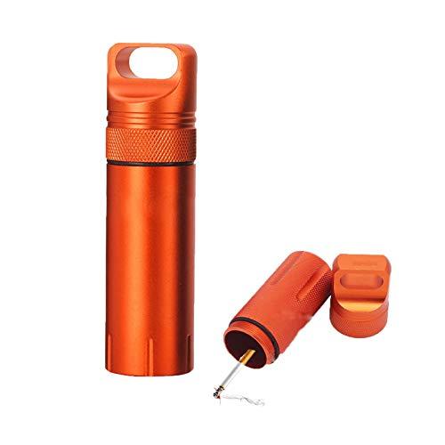 携帯灰皿 おしゃれ 密閉 アウトドア 野外 キーホルダー キーホルダー 合金 アウトドア ピルケース 携帯 耐湿防圧 大容量 オレンジ